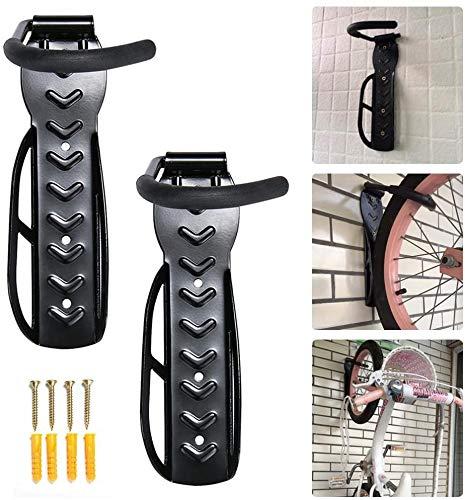 Gancho para Colgar Bicicleta en la Pared Paquete - Soporta hasta 30 kg cada uno - Negro (Negro-2)