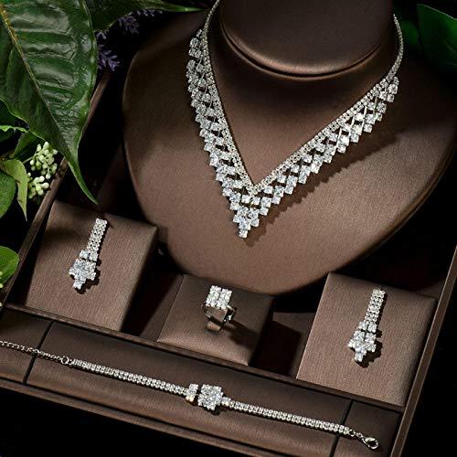 Jskdzfy CAÑO Largo CZ Colgante Collar Pendiente Conjunto Nuevo Diseño Estilo Europeo Mujeres Joyas De Novia Conjuntos Vestido Accesorio (Color : Platinum Plated)