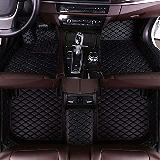 8X-SPEED Custom Car Floor Mats Fit for VW Touareg (High Match) 2008-2010 Full Coverage All Weather Protection Waterproof Non-Slip Leather Liner Set All Black