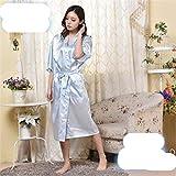 N-B Chemise de Nuit en Satin torsadé Imitation soie Dames Pyjamas été Couleur Unie soie Longue Peignoir japonais Kimono Cardigan Robe