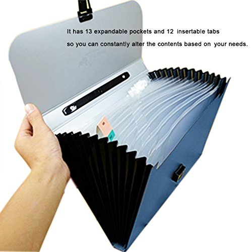 iMustech 13 Pockets Expanding File, Accordion file organizer, A4 Expandable File organizer with Handle, Buckle Closure Hand-Held Document Folder, Portable File Folder Includes Tabs Photo #5