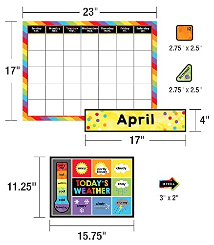 Celebrate Learning Calendar Bulletin Board Set—Colorful Calendar, Monthly Headers, Days of the Week, Seasons, Birthdays, Special Occasions, Weather Chart (86 pc) Photo #3