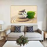 GJQFJBS Salon Peinture Murale HD Imprimer Orchidée Zen Spa Bambou Pierre Bougeoir Peinture À l'huile Toile Artiste Décoration de La Maison A1 30x40 cm