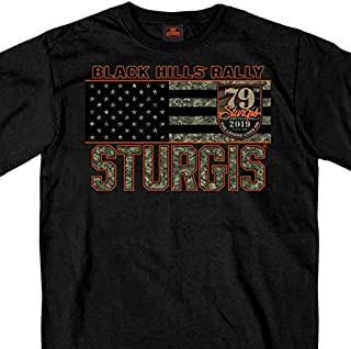 Official 2019 Sturgis Motorcycle Rally Camo Skull Pattern Black T-Shirt (BLACK Extra Large)