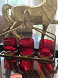 Curio Crafts Red & Gold Tealight Candle Holder for Home Decor, Occasions & Table Centerpieces