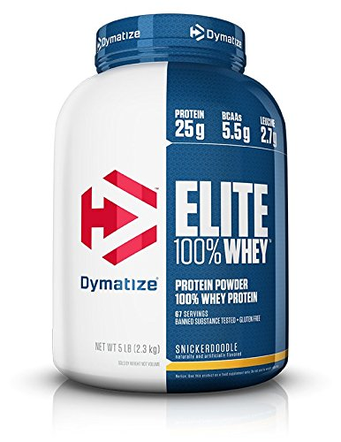Dymatize Elite 100% Whey Protein Powder, Take Pre Workout or Post Workout, Quick Absorbing & Fast Digesting, Snickerdoodle, 5 Pound