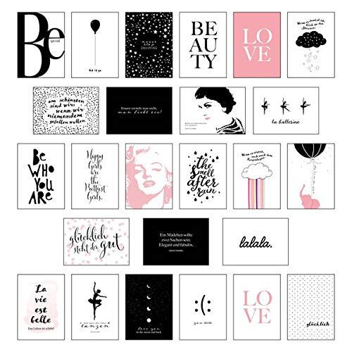 Schönes Postkarten Set mit 25 modernen und stylishen Postkarten zum Dekorieren oder Verschenken. Feminine Bilder, Sprüche und Statements für Frauen. Hochwertige Spruchkarten in dekorativer Box.