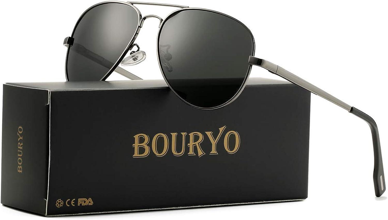 BOURYO Aviator Sunglasses for Men Women Polarized Metal Frame Mirror Lens Sun Glasses UV400 Predection