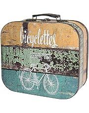 HMF VKO200 Maleta Vintage de Madera | 32 x 29,5 x 12 cm | Grande | Decoración Bicicleta