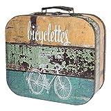 HMF 6431-132 Valigia in Legno Vintage | 32 x 29,5 x 12 cm | Grande | Decorazione Bicicletta