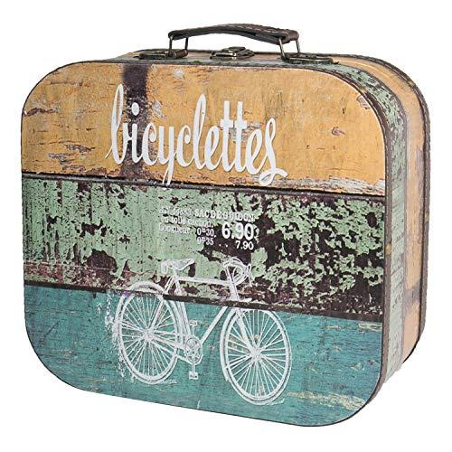 HMF 6431-132 Maleta Vintage de Madera | 32 x 29,5 x 12 cm | Grande | Decoración Bicicleta