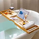 bamboo bathtub caddy tray, bath tub tray with 12-in-1 features adjustable bathtub table, non-slip