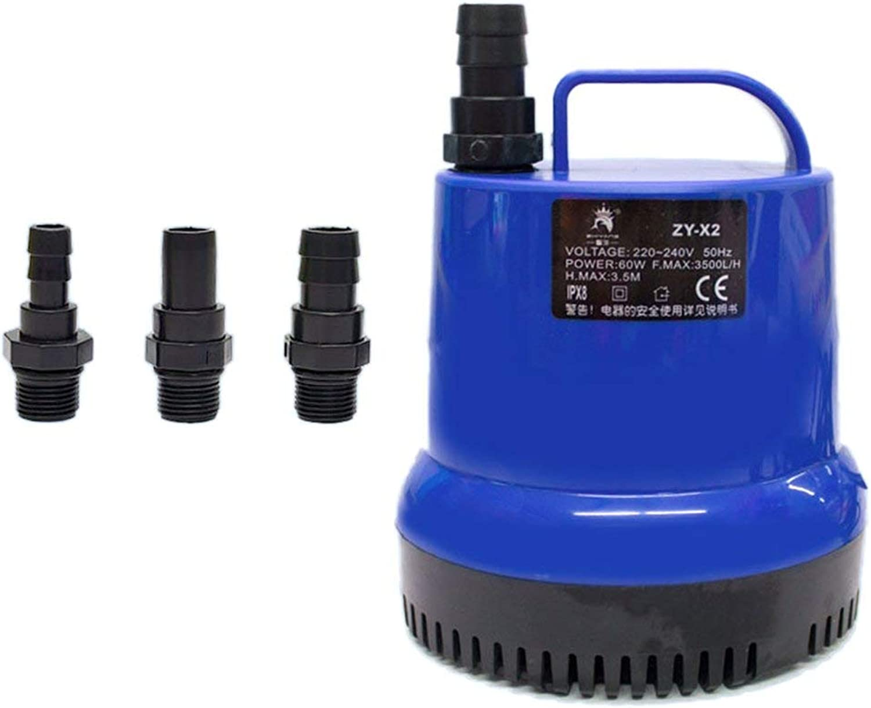 Aquarium Water Pump Submersible Pump Fountain Air Fish Tank Pond Water Pump with 3C Power Cord for Seawater Fresh Water  bluee & Black