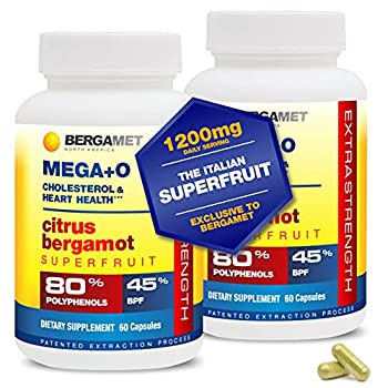 Citrus Bergamot SuperFruit MEGA+O Highest Available 80% Polyphenols 1200mg per Serving Supplement for High Cholesterol & Heart Health Proven in Clinical Studies 2 Months - 120 Caps