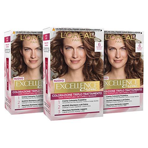 L'Oréal Paris Tinta Capelli Excellence, Copre Il 100% dei Capelli Bianchi, a Lunga Durata, 6 Biondo Scuro, Confezione da 3