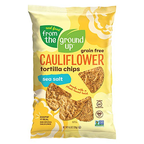 REAL FOOD FROM THE GROUND UP Cauliflower Tortilla Chips - 6Count, 4.5 Oz Bags (Salted)
