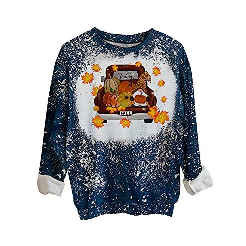 Halloween Women Vintage Bleached Tops,Long Sleeve Car Pumkin Print Casual Sweatshirt,Trendy Cute Y2k Loose Fit Pullover