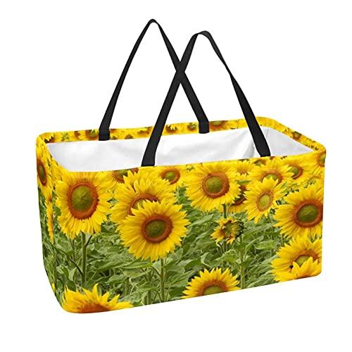 Bolsa de comestibles reutilizable grande, resistente bolsa de compras con parte inferior reforzada y asa (impresión de plantas de girasol amarillo)