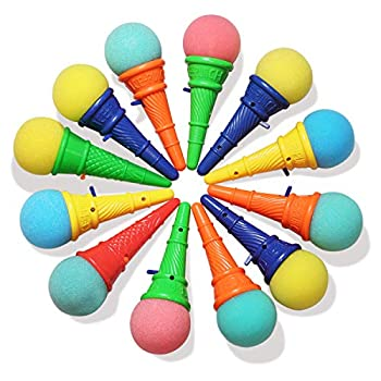 Novelty Place Ice Cream Shooters Toy  Pack of 12  - Squeeze N  Pop Game - Multi-Color Icecream Cone Foam Ball Launcher - Great Party Favors and Carnival Prize for Kids and Children  7 inch