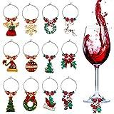 ZOYLINK Decoración de Mesa de Navidad, 12 Piezas Marcadores de Copas Dijes de Copa de Vino para Navidad Encanto de Copa de Vino Diferenciador Anillo Marcador