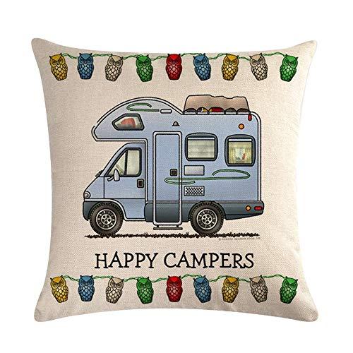 Vektenxi Durable Hot Happy Camper Kissenbezug Dekokissen Fall Home Decor Hohe Qualität