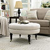 BELLEZE Contemporary Tufted Linen 33-Inch Round Accent Ottoman Foot Rest Stool with Wheel Legs, Light Beige