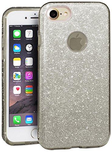EGO  Glitzer Schutzhülle für iPhone 7 Plus, Back Case Bumper Glänzend Transparente Silikon TPU...
