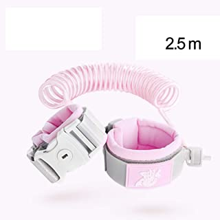Anti Lost Safety Wrist Link Belt, 2.5M Harness Flexible Adjustable Child Walking Strap, with 360 °Rotation and Retractability Wrist Harness Set, Suitable for 1-12 Year Old Child,Pink