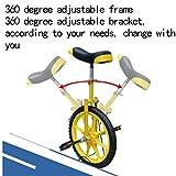 LIfav 16 Zoll Kinder Einrad, Höhenverstellbarer Griffige Reifen Einzel-Runde Gleichgewicht Bike Radfahren, Für Anfänger Kinder Erwachsene Übung Fun Fitness,Blau - 5