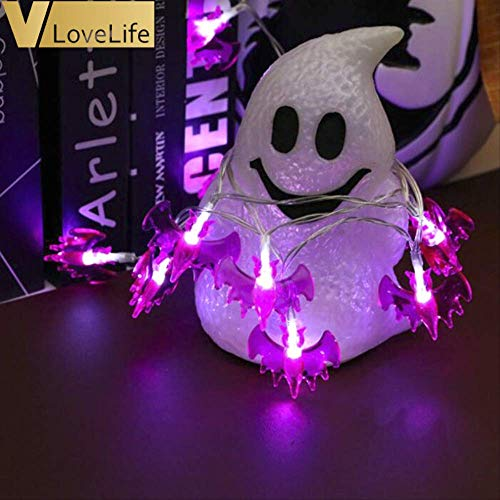 WSJDE 3 Mt 20 LEDs Laternen Lampe Für Halloween Decor Hängen Lichterketten Horriable Lila Fledermaus Lampe Outdoor Home Decor