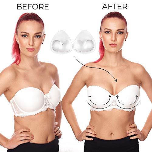 Bilbette Rellenos de Sujetador De Silicona para Pecho pequeñas, Almohadillas Push Up Impermeables para Bikini y Bañador, 1 Talla de Aumento de Pecho, Accesorios de Sujetador Color Transparente, 130 g