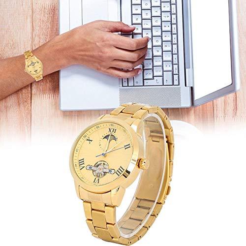 Heren mechanisch horloge met gouden wijzerplaat en gouden band, herenhorloge is duurzaam, herenmode automatisch horloge is geschikt voor zaken en geschenken