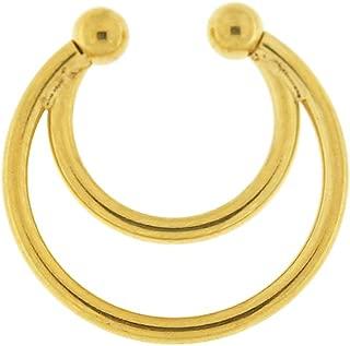 16 Gauge - 10MM Length Surgical Steel Spring Top Circular Fake Septum Nose Ring Piercing