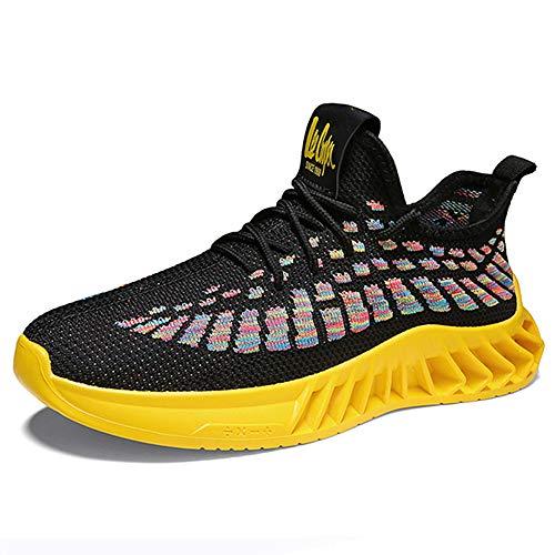 Zapatillas de correr para hombre que caminan antideslizante tipo cuchilla zapatillas de deporte, amarillo (Amarillo), 38.5 EU