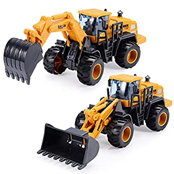 BEESTECH Construction Toys for 3 Year Old Boys 2 Pack with Excavator Toy Bulldozer Toys for Kids Sand Toys Beach Toys Truck Toys Sand Box Toys for 3,4,5,6 Year Old Boys Kids