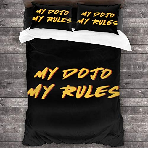 My Dojo My Rules Cobra Kai Karate Kid Juego de cama de 3 piezas, funda de edredón de 86 x 70 pulgadas, decorativa de 3 piezas con 2 fundas de almohada