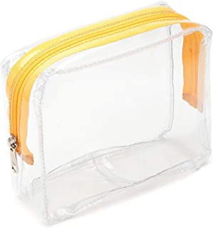 Clear Toiletry Bag, iSPECLE PVC Clear Cosmetic Bag TSA Approved Travel Luggage Pouch Carry On Clear Airport Compliant Bag Travel Makeup Bags Yellow