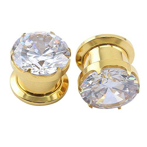 ZeSen Jewelry Herrliche Big Zirkonia Edelstahlschraube Tunnel-Ohr-Expander-Keilrahmen Piercing Ohr Gauges (2) Gauge = 2g (6 mm) Gold