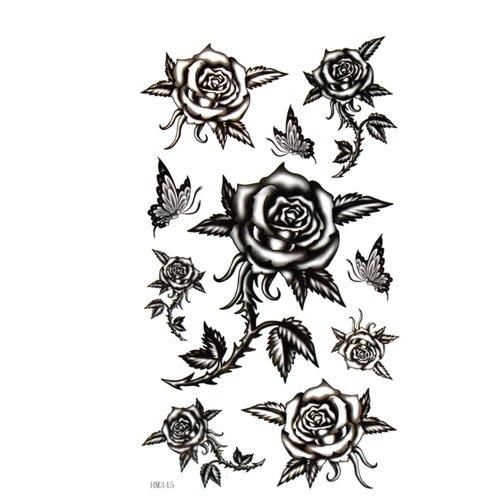 King Horse autocollant tatouage est imperméable à l'eau et la sueur femelle noire barbelés roses papillon sexy