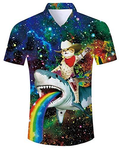 Goodstoworld cat Hemd Herren Freizeithemd Kurzarm Schwarz Hemden 3D Galaxy Shark Druck Sommerhemd Männer Button Down Shirt L