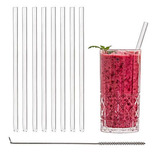 Nhät Straw – 8 cannucce in vetro sostenibile e riutilizzabili (20 cm di lunghezza) con spazzola di pulizia – senza plastica e lavabile in lavastoviglie.