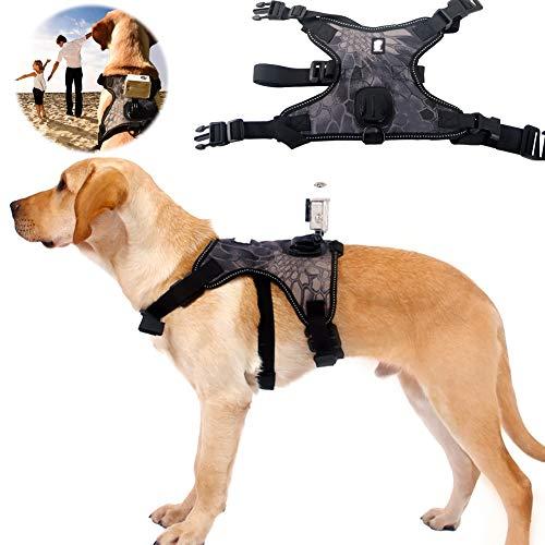 PJDDP Hundegeschirr No-Pull Brustgurt Haustiergeschirr Gurt Haustierweste Für Gopro Mount Action-Kamera, Hundeperspektive Mit Hoher Stabilität, Atmungsaktive Verstellbare Hundesicherheitsweste,L