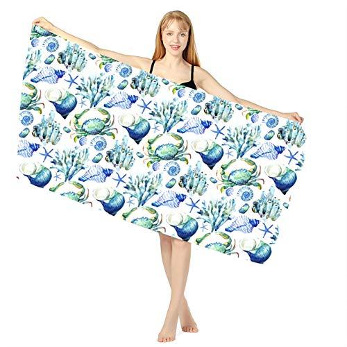 Wjmss Toalla de Playa, impresión Seco rápido Océano Océano Baño Natación Natación Toalla Seco Toalla SPA Bathrobes Toalla de Playa de Microfibra para Deportes y Fitness,02