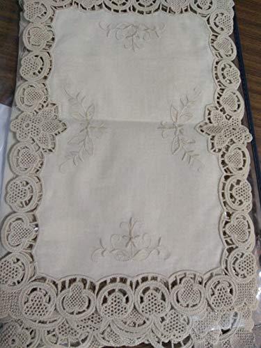 Set trittico completo centri 3 pezzi puro lino ricamo burano piccolo