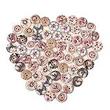 Botones 50pcs nueva flor imprimió alrededor del botón de madera de 2 agujeros de 15 mm de madera mezclaron los botones de costura Accesorios for la ropa de la decoración DIY vintage (Color : A 01)