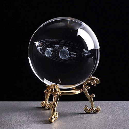 RIMEI Wohndekorationen. 60cm / 80cm 3D 8 Arten der Gravur Kristallkugel Ornamente Vierblättriges Kleeblatt System Drachenmuster Home Decoration Ball (Color : Clear, Size : 80MM)