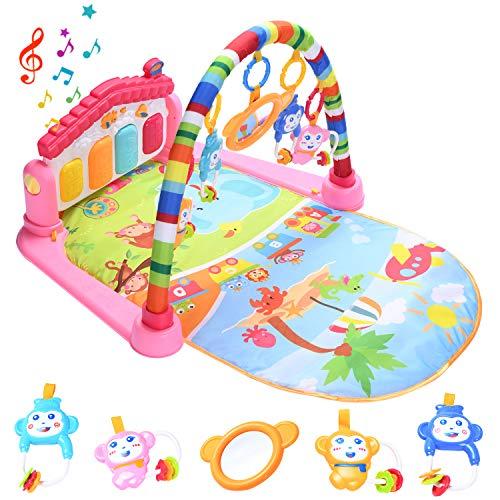 HIUME Gimnasio Bebé, Manta Actividades Bebé, Juguetes de Piano para Patear y Tocar con Música y Luces, Alfombra Sensorial para Bebés, Regalos para Niños y Niñas de 1 a 6-12-24 Meses