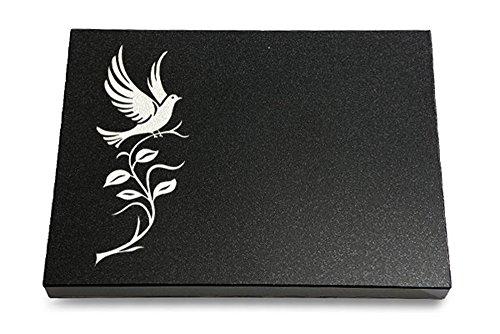 MEMORUM Grabmale Grabtafel, Grabplatte, Grabstein, Grabkissen, Urnengrabstein, Liegegrabstein Modell Pure 40 x 30 x 3-4 cm Indisch-Black-Granit, poliert inkl. Gravur (Sandstrahl-Ornament Taube 3)