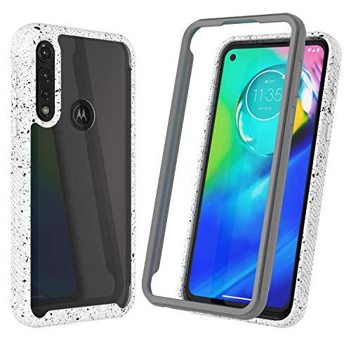 Njjex Moto G Power Case, Motorola Moto G Power 2020 Case, [Npatt] Hybrid Impact Transparent Clear Back Soft TPU Bumper Case + PC Plastic Front Cover Shockproof Phone Cover for Moto G Power [White]