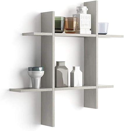 75 x 16,5 x 16,5 cm Par de estantes Modelo Luxury de MDF Color Cemento Mobili Fiver